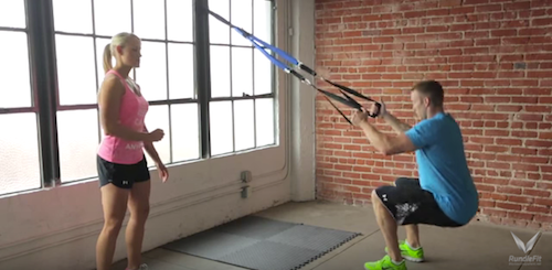Beginner Suspension Trainer Squat Exercise