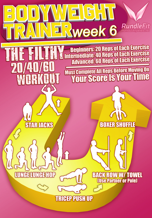 Body Weight Trainer Week 6 Infographic